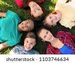 Group Children Lying Grass Top - Fine Art prints