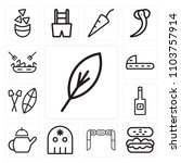 set of 13 icons such as feather ...