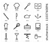 set of 16 icons such as pot ... | Shutterstock .eps vector #1103760896