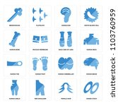set of 16 icons such as dishes...