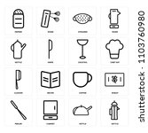 set of 16 icons such as kettle  ... | Shutterstock .eps vector #1103760980