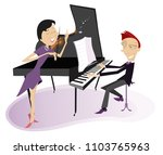 couple musicians play music on... | Shutterstock .eps vector #1103765963