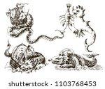 set of vintage sea monsters.... | Shutterstock .eps vector #1103768453
