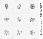 flowers line icon set with... | Shutterstock .eps vector #1103768819