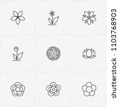flowers line icon set with... | Shutterstock .eps vector #1103768903