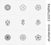 flowers line icon set with  and ... | Shutterstock .eps vector #1103768966
