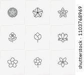 flowers line icon set with... | Shutterstock .eps vector #1103768969