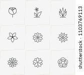 flowers line icon set with rose ... | Shutterstock .eps vector #1103769113