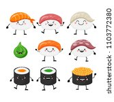 cute cartoon sushi set... | Shutterstock .eps vector #1103772380