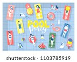 pool party banner design with... | Shutterstock .eps vector #1103785919