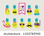 pineapple cute characters set... | Shutterstock .eps vector #1103785940