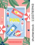 pool party poster design with... | Shutterstock .eps vector #1103785943