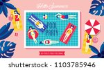pool party banner design with... | Shutterstock .eps vector #1103785946