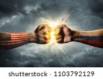 close up clash of two fists.... | Shutterstock . vector #1103792129