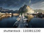 sunset   reine  lofoten islands ... | Shutterstock . vector #1103811230