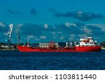 red cargo tanker ship moving by ... | Shutterstock . vector #1103811440