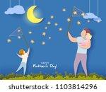 handsome man and his children... | Shutterstock .eps vector #1103814296
