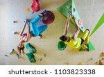 rock climbers in bouldering gym ...   Shutterstock . vector #1103823338