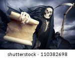 grim reaper on a dark background | Shutterstock . vector #110382698