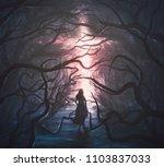 a woman runs through a scary... | Shutterstock . vector #1103837033