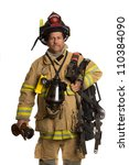 firefighter holding mask and... | Shutterstock . vector #110384090