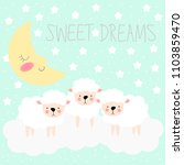 sheep and moon background for... | Shutterstock .eps vector #1103859470