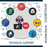 technical support flat icons... | Shutterstock .eps vector #1103874149