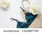paper bag and bra on the white... | Shutterstock . vector #1103887700