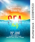 summer sea party poster. vector ... | Shutterstock .eps vector #1103893523