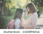 asian mother saying goodbye to... | Shutterstock . vector #1103896016