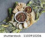 popular food for breaking fast... | Shutterstock . vector #1103910206