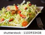 closeup view on a green salad... | Shutterstock . vector #1103933438