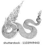 hand drawn thai dragon isolate... | Shutterstock .eps vector #1103949443