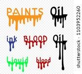 flows set of black oil orange... | Shutterstock .eps vector #1103952260