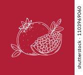 pomegranate. half of...   Shutterstock .eps vector #1103969060