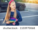 a fashionable little cute girl... | Shutterstock . vector #1103970068