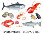 vector seafood in flat style... | Shutterstock .eps vector #1103977403