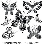 Stock vector black and white butterflies tattoo design 110402699