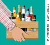 alcohol drinks collection in... | Shutterstock . vector #1104030113