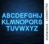 neon blue vector alphabet  set... | Shutterstock .eps vector #1104037754
