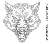 head of angry roaring wolf ... | Shutterstock .eps vector #1104041840