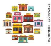 store facade front shop icons...   Shutterstock . vector #1104042626