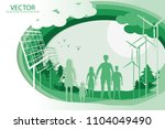 vector family hold hand and... | Shutterstock .eps vector #1104049490