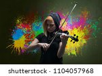 Small photo of Young classical violinist musician with colorful splotch wallpaper