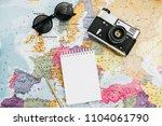 travel notes mock up. world map ... | Shutterstock . vector #1104061790