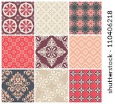 set of nine colorful seamless... | Shutterstock .eps vector #110406218