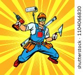 multi armed builder repairman.... | Shutterstock .eps vector #1104066830