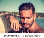 attractive young shirtless...   Shutterstock . vector #1104067598