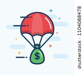 parachute with a bag of money... | Shutterstock .eps vector #1104088478