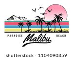 malibu beach theme vector... | Shutterstock .eps vector #1104090359